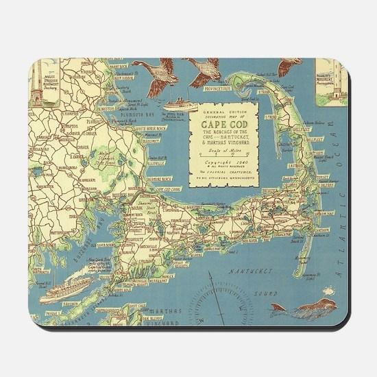 Vintage Cape Cod Map (1940) Mousepad