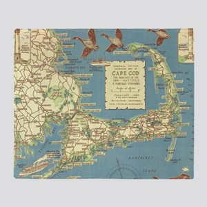 Vintage Cape Cod Map (1940) Throw Blanket