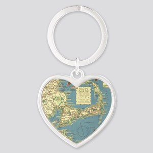 Vintage Cape Cod Map (1940) Heart Keychain