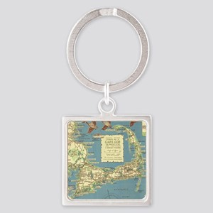 Vintage Cape Cod Map (1940) Square Keychain