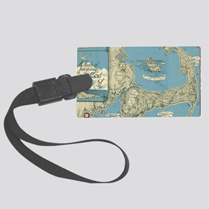 Vintage Map of Cape Cod (1945) Large Luggage Tag
