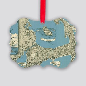 Vintage Map of Cape Cod (1945) Picture Ornament
