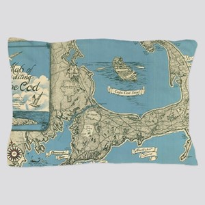 Vintage Map of Cape Cod (1945) Pillow Case