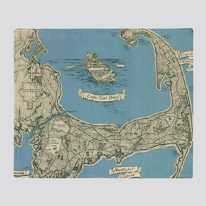 Vintage Map of Cape Cod (1945) Throw Blanket