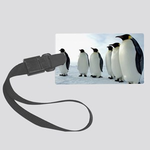 Lined up Emperor Penguins Large Luggage Tag