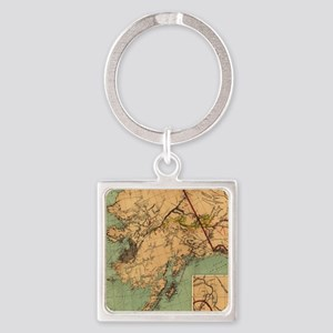 Vintage Map of Gold and Coal in Al Square Keychain