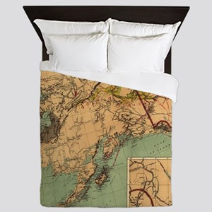 Vintage Map of Gold and Coal in Alaska Queen Duvet