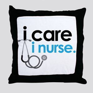 i care i nurse blue Throw Pillow