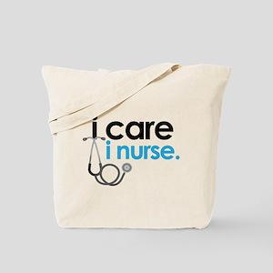 i care i nurse blue Tote Bag