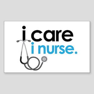 i care i nurse blue Rectangle Sticker