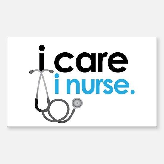 i care i nurse blue Rectangle Decal