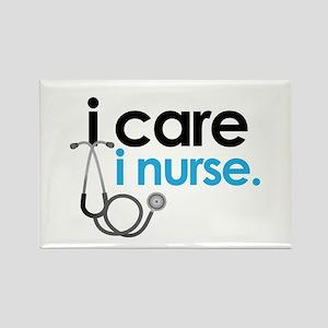 i care i nurse blue Rectangle Magnet