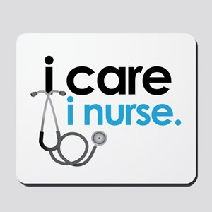 i care i nurse blue Mousepad