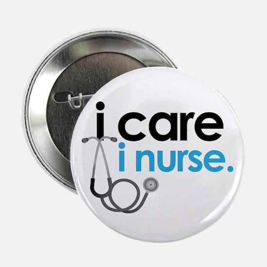 i care i nurse blue Button