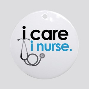 i care i nurse blue Ornament (Round)