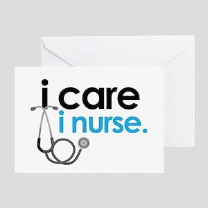 i care i nurse blue Greeting Card