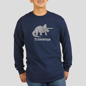 Triceratops Dinosaur Long Sleeve Dark T-Shirt