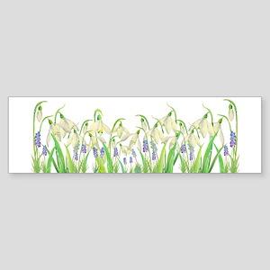Watercolor Snowdrops and Muscari Bumper Sticker