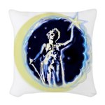 Texas Moon Goddess Of Liberty Woven Throw Pillow
