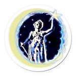 Texas Moon Goddess of Liberty Round Car Magnet