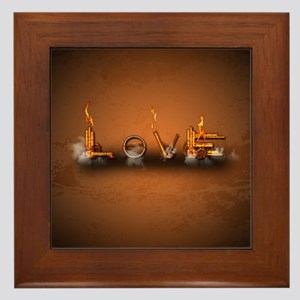Love, the word in a machine style Framed Tile