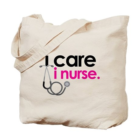 i care i nurse pink Tote Bag