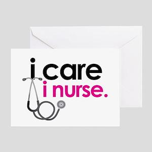 i care i nurse pink Greeting Card