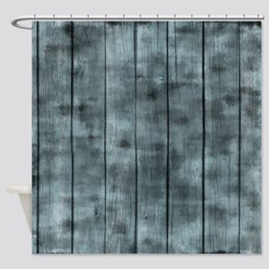 Dirty Blue Wooden Fence Shower Curtain