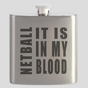 Netball it is in my blood Flask
