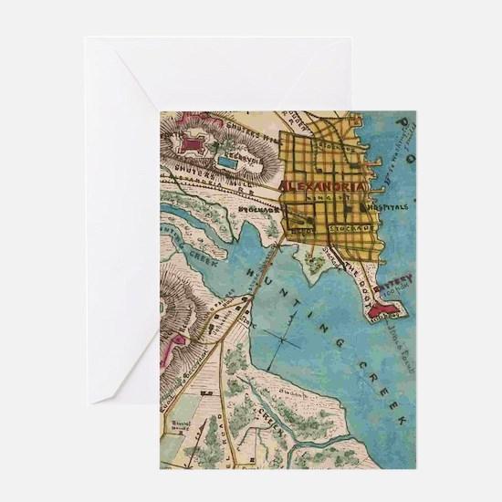 Map of Alexandria VA and Neighbor Ci Greeting Card