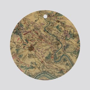 Vintage Antietam Battlefield Map (1 Round Ornament