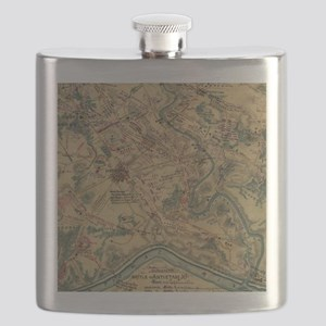 Vintage Antietam Battlefield Map (1862) Flask