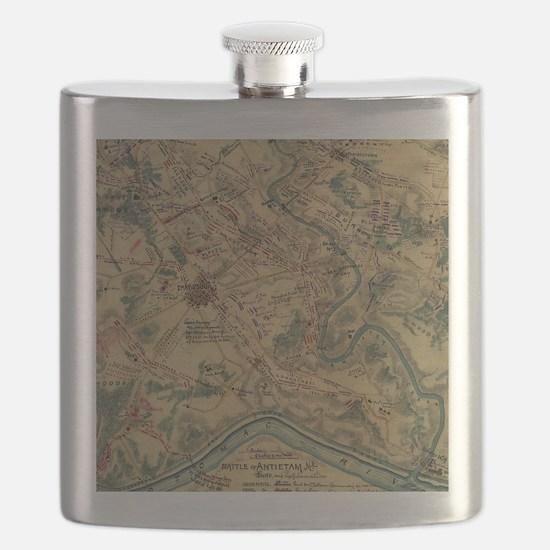 Vintage Antietam Battlefield Map (1862) Flask