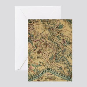 Vintage Antietam Battlefield Map (18 Greeting Card