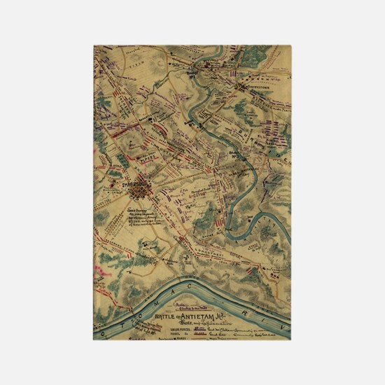 Vintage Antietam Battlefield Map  Rectangle Magnet