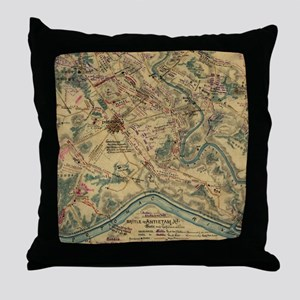 Vintage Antietam Battlefield Map (186 Throw Pillow