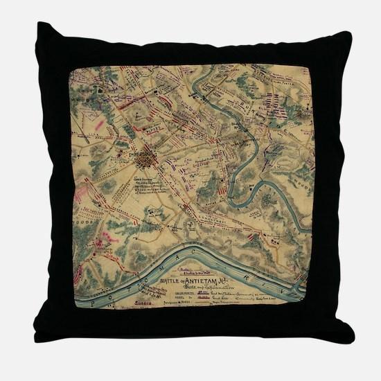 Vintage Antietam Battlefield Map (186 Throw Pillow