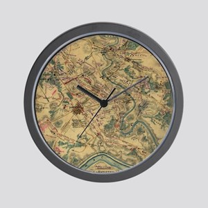 Vintage Antietam Battlefield Map (1862) Wall Clock