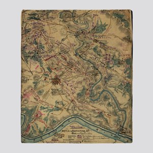 Vintage Antietam Battlefield Map (18 Throw Blanket