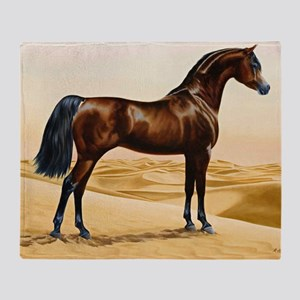 Vintage Arabian Horse Painting by Wi Throw Blanket