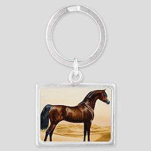 Vintage Arabian Horse Painting  Landscape Keychain