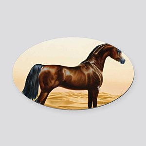 Vintage Arabian Horse Painting by  Oval Car Magnet