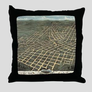 Vintage Pictorial Map of Atlanta (187 Throw Pillow