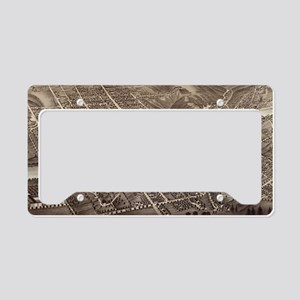 Vintage Pictorial Map of Augu License Plate Holder