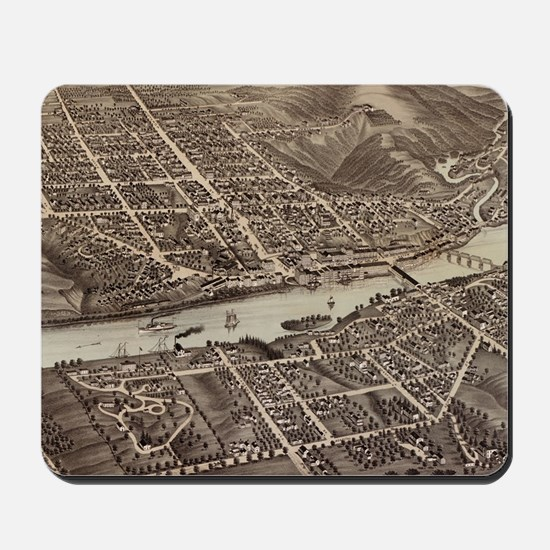 Vintage Pictorial Map of Augusta Maine ( Mousepad
