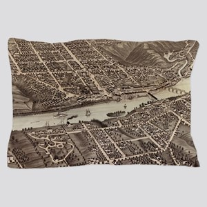 Vintage Pictorial Map of Augusta Maine Pillow Case