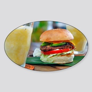 Gourmet Burger and Smoothies  Sticker (Oval)