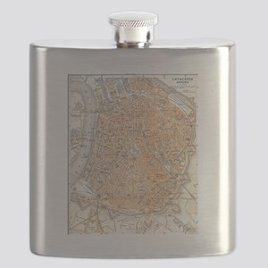 Vintage Map of Antwerp Belgium (1905) Flask