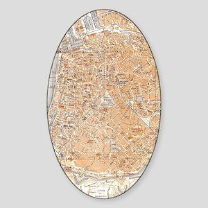 Vintage Map of Antwerp Belgium (190 Sticker (Oval)