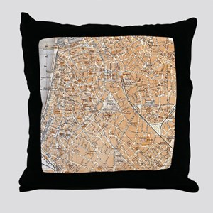 Vintage Map of Antwerp Belgium (1905) Throw Pillow